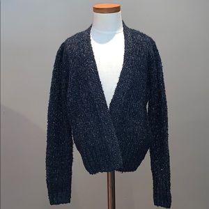 Girls GAP blue cardigan cape sweater